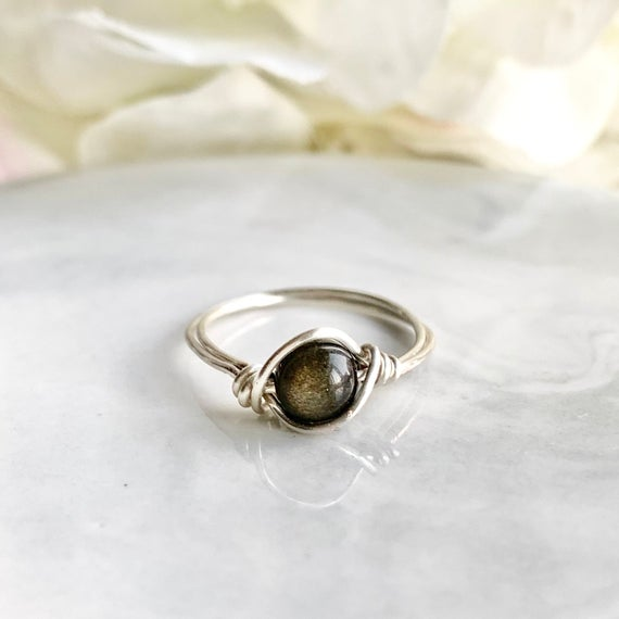 6mm Black Obsidian Ring - Wire Wrap In Sterling Silver,rose Gold,gold - Black Stone With Gold Glitters - Black Obsidian Jewelry - Healing