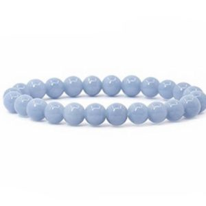 Shop Angelite Bracelets! 8mm Angelite Bracelet, Delicate Blue Angelite Bracelet, Serenity Bracelet, Peace Anti Stress Chakra Bracelet, Sympathy Get Well Gift Healing | Natural genuine Angelite bracelets. Buy crystal jewelry, handmade handcrafted artisan jewelry for women.  Unique handmade gift ideas. #jewelry #beadedbracelets #beadedjewelry #gift #shopping #handmadejewelry #fashion #style #product #bracelets #affiliate #ad