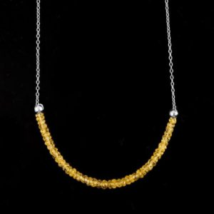 Shop Yellow Sapphire Necklaces! 925 Sterling Silver Natural Yellow Sapphire Necklace Rhodium Plated Handmade Jewelry Gemstone November Birthstone Gift For Women | Natural genuine Yellow Sapphire necklaces. Buy crystal jewelry, handmade handcrafted artisan jewelry for women.  Unique handmade gift ideas. #jewelry #beadednecklaces #beadedjewelry #gift #shopping #handmadejewelry #fashion #style #product #necklaces #affiliate #ad