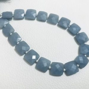 """Shop Angelite Beads! AAA Grade ANGELITE Faceted Square shape Briolette Beads, Size 6/8/10 mm, 8"""" Strand Length, Super Quality gems for Jewellery 