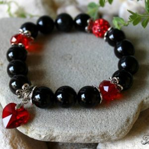 Shop Agate Bracelets! 14mm Black Agate Bracelet, Brazilian Agate Bracelet, Black Red Bracelet, Agate Wrist Mala, Red Heart Bracelet, Red Crystal Bracelet, Agate | Natural genuine Agate bracelets. Buy crystal jewelry, handmade handcrafted artisan jewelry for women.  Unique handmade gift ideas. #jewelry #beadedbracelets #beadedjewelry #gift #shopping #handmadejewelry #fashion #style #product #bracelets #affiliate #ad