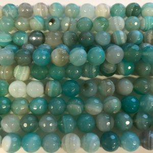 Shop Agate Faceted Beads! blue Agate Faceted Round Shaped Gemstone Bead-10mm~ -15 inch strand- | Natural genuine faceted Agate beads for beading and jewelry making.  #jewelry #beads #beadedjewelry #diyjewelry #jewelrymaking #beadstore #beading #affiliate #ad