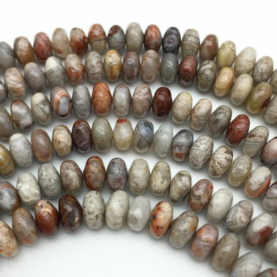 8x5mm Crazy Lace Agate Rondelle Beads, Gemstone Beads, Wholesale Beads