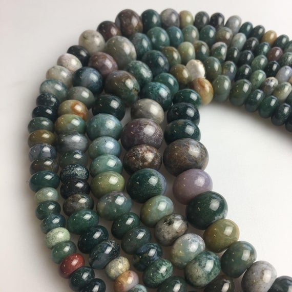 """Natural Indian Agate Graduated Smooth Rondelle Beads 6-16mm 15.5"""" Strand"""