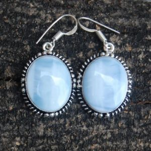 Shop Angelite Earrings! amazing blue angelite gemstone 925 sterling silver earrings/ birthstone jewelry /yellow gold filled, rose gold filled earrings | Natural genuine Angelite earrings. Buy crystal jewelry, handmade handcrafted artisan jewelry for women.  Unique handmade gift ideas. #jewelry #beadedearrings #beadedjewelry #gift #shopping #handmadejewelry #fashion #style #product #earrings #affiliate #ad