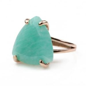 Shop Amazonite Rings! 14k rose gold ring,Amazonite ring,gold filled ring,trillion cut ring,triangle stone ring,gemstone ring for women,energy ring,healing ring | Natural genuine Amazonite rings, simple unique handcrafted gemstone rings. #rings #jewelry #shopping #gift #handmade #fashion #style #affiliate #ad