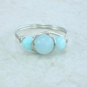 Shop Amazonite Rings! Sterling Silver Amazonite Bead Ring | Natural genuine Amazonite rings, simple unique handcrafted gemstone rings. #rings #jewelry #shopping #gift #handmade #fashion #style #affiliate #ad