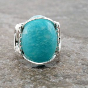 Shop Amazonite Rings! Sterling Silver Wire Wrapped Russian Amazonite Ring | Natural genuine Amazonite rings, simple unique handcrafted gemstone rings. #rings #jewelry #shopping #gift #handmade #fashion #style #affiliate #ad