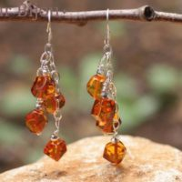Earrings 925 Silver – Amber Faceted 7mm Silver Orange / Bronze | Natural genuine Gemstone jewelry. Buy crystal jewelry, handmade handcrafted artisan jewelry for women.  Unique handmade gift ideas. #jewelry #beadedjewelry #beadedjewelry #gift #shopping #handmadejewelry #fashion #style #product #jewelry #affiliate #ad