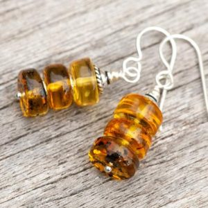 Shop Amber Earrings! Natural Honey Amber Earrings, Baltic Amber Earrings, Ombre Amber Earrings,  Rustic Golden Earrings, 925 Sterling Silver   Natural genuine Amber earrings. Buy crystal jewelry, handmade handcrafted artisan jewelry for women.  Unique handmade gift ideas. #jewelry #beadedearrings #beadedjewelry #gift #shopping #handmadejewelry #fashion #style #product #earrings #affiliate #ad