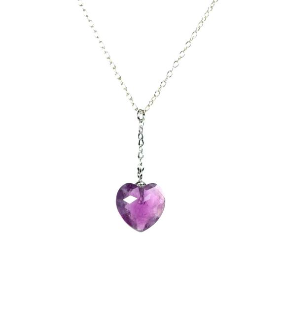 Amethyst Necklace -  Lariat Necklace - Heart Necklace - February Birthstone Jewelry - An Amethyst Heart On A Sterling Silver Chain