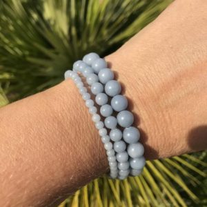 Shop Angelite Bracelets! Angelite bracelet – 4mm, 6mm, 8mm, 10mm or 12mm beaded bracelet- connection with guides and angels, meditation, tranquility, soothing energy | Natural genuine Angelite bracelets. Buy crystal jewelry, handmade handcrafted artisan jewelry for women.  Unique handmade gift ideas. #jewelry #beadedbracelets #beadedjewelry #gift #shopping #handmadejewelry #fashion #style #product #bracelets #affiliate #ad