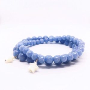 Shop Angelite Bracelets! Angelite Bracelet, Blue Anhydrite Bracelet, Balancing Jewelry, 6mm, 8mm, Star Charm Stretch Bracelet, Valentines Day Gift, Calming Crystal | Natural genuine Angelite bracelets. Buy crystal jewelry, handmade handcrafted artisan jewelry for women.  Unique handmade gift ideas. #jewelry #beadedbracelets #beadedjewelry #gift #shopping #handmadejewelry #fashion #style #product #bracelets #affiliate #ad