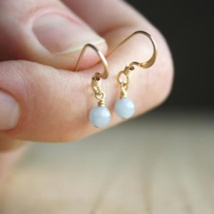 Angelite Earrings . Tiny Stone Earrings Gold . Angelite Crystal Earrings Dangle . Dainty Stone Earrings | Natural genuine Gemstone earrings. Buy crystal jewelry, handmade handcrafted artisan jewelry for women.  Unique handmade gift ideas. #jewelry #beadedearrings #beadedjewelry #gift #shopping #handmadejewelry #fashion #style #product #earrings #affiliate #ad