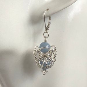 Shop Angelite Earrings! Angelite Earrings, Ornate Chainmaille, Sterling Silver, Dangle Drop | Natural genuine Angelite earrings. Buy crystal jewelry, handmade handcrafted artisan jewelry for women.  Unique handmade gift ideas. #jewelry #beadedearrings #beadedjewelry #gift #shopping #handmadejewelry #fashion #style #product #earrings #affiliate #ad