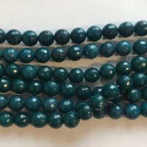 Shop Angelite Beads! Angelite 10mm Faceted Round Gemstone Beads -15.5 Inch Strand–1 Strand / 3 Strands | Natural genuine faceted Angelite beads for beading and jewelry making.  #jewelry #beads #beadedjewelry #diyjewelry #jewelrymaking #beadstore #beading #affiliate #ad
