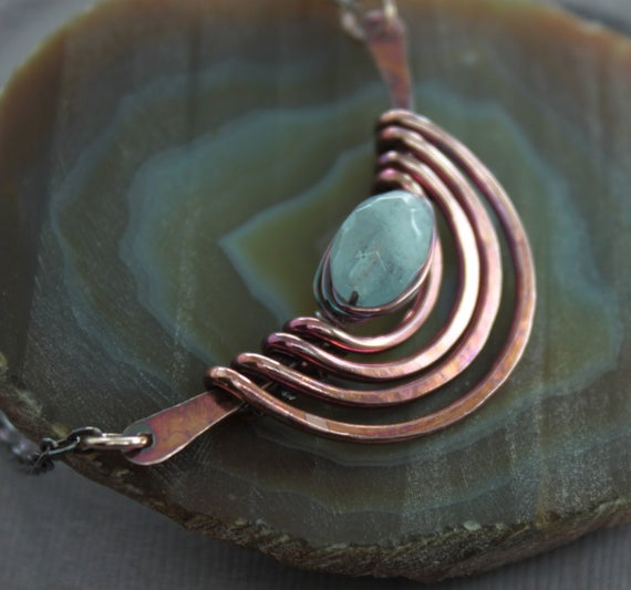 Tribal Copper Necklace With Aquamarine Stone, Aquamarine Necklace, March Necklace, Arch Necklace, Trendy Necklace, Gift For Her - Nk001