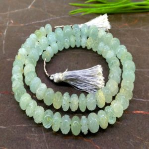 Natural Milky Aquamarine 8-11.5mm Carved Melon Gemstone Beads / Approx 74 Pieces on 19 Inch Long Strand / JBC-ET-154927 | Natural genuine other-shape Gemstone beads for beading and jewelry making.  #jewelry #beads #beadedjewelry #diyjewelry #jewelrymaking #beadstore #beading #affiliate #ad