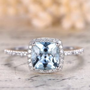 7mm Cushion Cut Aquamarine Ring Aquamarine Halo Ring,Aquamarine Engagement Ring Solid 14k White Gold Ball Set | Natural genuine Array jewelry. Buy handcrafted artisan wedding jewelry.  Unique handmade bridal jewelry gift ideas. #jewelry #beadedjewelry #gift #crystaljewelry #shopping #handmadejewelry #wedding #bridal #jewelry #affiliate #ad