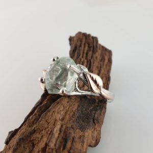 Hand Cut Aquamarine, 14k White Gold Twig Engagement Ring with 14k Rose Gold Leaves, Two Tone Wedding Ring   Natural genuine Array rings, simple unique alternative gemstone engagement rings. #rings #jewelry #bridal #wedding #jewelryaccessories #engagementrings #weddingideas #affiliate #ad