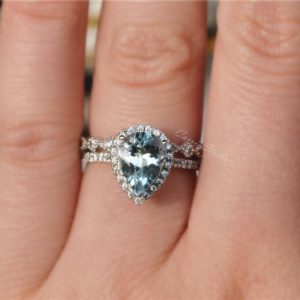 Natural Aquamarine Ring Set Aquamarine Engagement Ring Set with Fabulous Aquamarine Stone Wedding Ring Set  Anniversary Ring Promise Ring | Natural genuine Array rings, simple unique alternative gemstone engagement rings. #rings #jewelry #bridal #wedding #jewelryaccessories #engagementrings #weddingideas #affiliate #ad