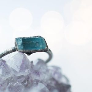 Shop Aquamarine Jewelry! Oxidized Silver Aquamarine crystal ring | Raw aquamarine ring | March birthstone ring | March Birthstone jewelry | Natural genuine Aquamarine jewelry. Buy crystal jewelry, handmade handcrafted artisan jewelry for women.  Unique handmade gift ideas. #jewelry #beadedjewelry #beadedjewelry #gift #shopping #handmadejewelry #fashion #style #product #jewelry #affiliate #ad