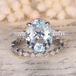 Wedding Ring Set, 9x11mm Oval Cut Aquamarine Engagement Ring, filigree, 14k White Gold, Full Eternity Wedding Band, art Deco, milgrain, bezel | Natural genuine Array rings, simple unique alternative gemstone engagement rings. #rings #jewelry #bridal #wedding #jewelryaccessories #engagementrings #weddingideas #affiliate #ad