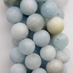 "Shop Aquamarine Round Beads! Genuine Matte Aquamarine Beads – Round 8 mm Gemstone Beads – Full Strand 16"", 47 beads, A Quality 