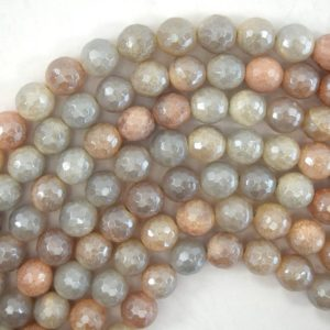 """Shop Aventurine Faceted Beads! Mystic Titanium Faceted Peach Aventurine Round Beads 15"""" 6mm 8mm 10mm 12mm 