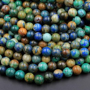 """Shop Azurite Beads! Azurite Beads 4mm 6mm 8mm 10mm Rare Energy Stone Genuine Real 100% Natural Blue Lightning Azurite Beads 15.5"""" Strand 