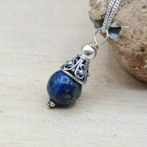 Shop Azurite Pendants! Rare Azurite cone pendant necklace. Reiki jewelry uk. 10mm Blue green semi precious stone. Minimalist Bali silver bead necklaces for women | Natural genuine Azurite pendants. Buy crystal jewelry, handmade handcrafted artisan jewelry for women.  Unique handmade gift ideas. #jewelry #beadedpendants #beadedjewelry #gift #shopping #handmadejewelry #fashion #style #product #pendants #affiliate #ad