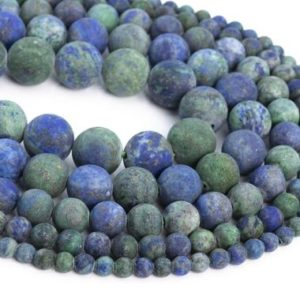 Shop Azurite Round Beads! Natural Matte Azurite Loose Beads Round Shape 6mm 8mm 10mm 15mm | Natural genuine round Azurite beads for beading and jewelry making.  #jewelry #beads #beadedjewelry #diyjewelry #jewelrymaking #beadstore #beading #affiliate #ad
