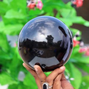 Huge 150mm 15cm Natural Black Tourmaline Stone Metaphysical Healing Power Aura Sphere Ball | Natural genuine stones & crystals in various shapes & sizes. Buy raw cut, tumbled, or polished gemstones for making jewelry or crystal healing energy vibration raising reiki stones. #crystals #gemstones #crystalhealing #crystalsandgemstones #energyhealing #affiliate #ad