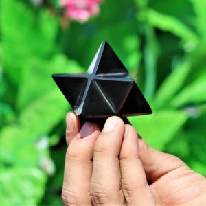 Natural Black Tourmaline Stone Small 55MM Healing Power Merkaba Star Tetrahedron | Natural genuine stones & crystals in various shapes & sizes. Buy raw cut, tumbled, or polished gemstones for making jewelry or crystal healing energy vibration raising reiki stones. #crystals #gemstones #crystalhealing #crystalsandgemstones #energyhealing #affiliate #ad