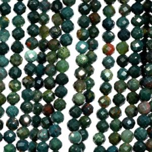 Shop Bloodstone Beads! Genuine Natural Dark Green Blood Stone Loose Beads Grade AAA Faceted Round Shape 3mm 4mm 5mm | Natural genuine faceted Bloodstone beads for beading and jewelry making.  #jewelry #beads #beadedjewelry #diyjewelry #jewelrymaking #beadstore #beading #affiliate #ad