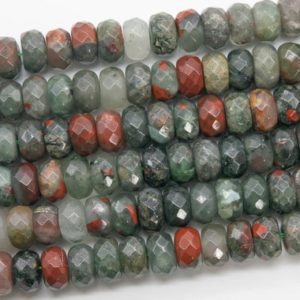 Shop Bloodstone Beads! Genuine Natural Gray & Red Blood Stone Loose Beads Faceted Rondelle Shape 10x6MM | Natural genuine faceted Bloodstone beads for beading and jewelry making.  #jewelry #beads #beadedjewelry #diyjewelry #jewelrymaking #beadstore #beading #affiliate #ad