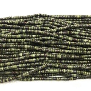 Shop Bloodstone Beads! Natural Dragon Bloodstone 2x4mm Heishi Genuine Gemstone Loose Beads 15 Inch Jewelry Supply Bracelet Necklace Material Support Wholesale | Natural genuine other-shape Bloodstone beads for beading and jewelry making.  #jewelry #beads #beadedjewelry #diyjewelry #jewelrymaking #beadstore #beading #affiliate #ad