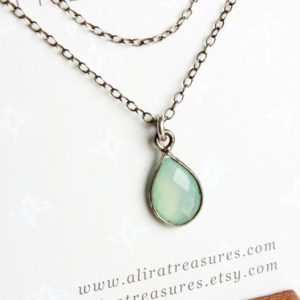 Blue Chalcedony Sterling Silver Necklace natural aqua blue gemstone modern minimalist dainty layered solitaire pendant holiday gift 3312 | Natural genuine Blue Chalcedony pendants. Buy crystal jewelry, handmade handcrafted artisan jewelry for women.  Unique handmade gift ideas. #jewelry #beadedpendants #beadedjewelry #gift #shopping #handmadejewelry #fashion #style #product #pendants #affiliate #ad