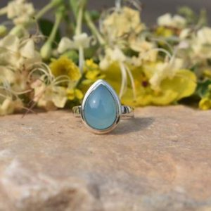 Shop Blue Chalcedony Rings! Blue Chalcedony Ring, Gemstone Jewelry, 925 Silver Ring, Pear Ring, Double Bezel Ring, Gift for Her, Boho Ring, Wife Gift, Christmas Offer | Natural genuine Blue Chalcedony rings, simple unique handcrafted gemstone rings. #rings #jewelry #shopping #gift #handmade #fashion #style #affiliate #ad