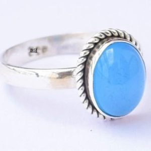 Shop Blue Chalcedony Rings! Blue Chalcedony Ring, Chalcedony Stone Ring, 925 Sterling Silver Ring, Blue Stone Ring, Chalcedony Jewelry, Blue Gemstone, Anniversary Ring | Natural genuine Blue Chalcedony rings, simple unique handcrafted gemstone rings. #rings #jewelry #shopping #gift #handmade #fashion #style #affiliate #ad