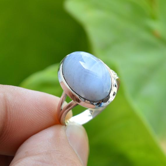 Natural Blue Lace Agate Ring, 925 Silver Rings, 10x14 Mm Oval Blue Lace Agate Ring, Women Rings, Gemstone Ring, Blue Agate Ring, Silver Ring
