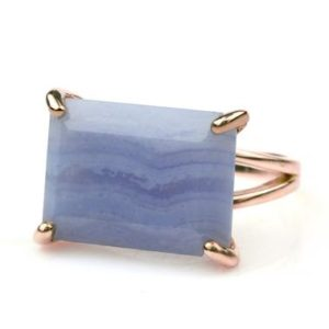Shop Blue Lace Agate Rings! Blue lace agate ring,rectangle ring,wide stone ring,gemstone ring,semiprecious ring,rose gold ring,prong cocktail ring for women | Natural genuine Blue Lace Agate rings, simple unique handcrafted gemstone rings. #rings #jewelry #shopping #gift #handmade #fashion #style #affiliate #ad