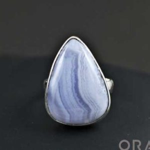 Shop Blue Lace Agate Rings! Sterling Silver ring with Blue Lace Agate Size 7 | Natural genuine Blue Lace Agate rings, simple unique handcrafted gemstone rings. #rings #jewelry #shopping #gift #handmade #fashion #style #affiliate #ad