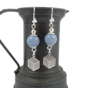 Shop Angelite Earrings! Blue solid silver earrings, angelite beads, graphic charms | Natural genuine Angelite earrings. Buy crystal jewelry, handmade handcrafted artisan jewelry for women.  Unique handmade gift ideas. #jewelry #beadedearrings #beadedjewelry #gift #shopping #handmadejewelry #fashion #style #product #earrings #affiliate #ad