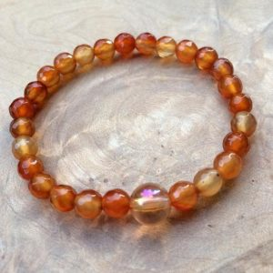Shop Carnelian Bracelets! Carnelian and Imperial Gold Quartz Grounding Bracelet WS2840 | Natural genuine Carnelian bracelets. Buy crystal jewelry, handmade handcrafted artisan jewelry for women.  Unique handmade gift ideas. #jewelry #beadedbracelets #beadedjewelry #gift #shopping #handmadejewelry #fashion #style #product #bracelets #affiliate #ad