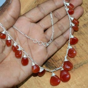 Shop Carnelian Necklaces! Red Carnelian 925 Sterling Silver ~ Beaded Jewelry ~ Silver Jewelry ~ Gemstone Necklace ~ Handmade Jewelry | Natural genuine Carnelian necklaces. Buy crystal jewelry, handmade handcrafted artisan jewelry for women.  Unique handmade gift ideas. #jewelry #beadednecklaces #beadedjewelry #gift #shopping #handmadejewelry #fashion #style #product #necklaces #affiliate #ad