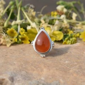 Shop Carnelian Rings! Designer Carnelian Ring, Carnelian Jewelry, Pear Ring, Sterling Silver Ring, Free Shipping, Sale Ring, Indian Artisans, Christmas Gift, 925 | Natural genuine Carnelian rings, simple unique handcrafted gemstone rings. #rings #jewelry #shopping #gift #handmade #fashion #style #affiliate #ad