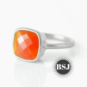 Shop Carnelian Rings! Orange Carnelian Ring, Carnelian Ring, 925 Sterling Silver Ring, Wedding Ring, Handmade Ring, Gifts for Her, August Birthstone Ring | Natural genuine Carnelian rings, simple unique alternative gemstone engagement rings. #rings #jewelry #bridal #wedding #jewelryaccessories #engagementrings #weddingideas #affiliate #ad