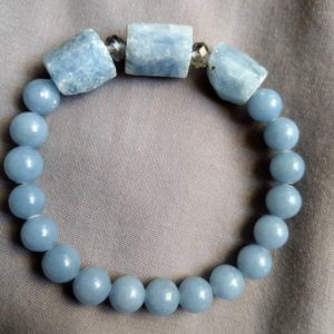 Celestite raw and Angelite bracelet  crystal healing spiritual support | Natural genuine Gemstone bracelets. Buy crystal jewelry, handmade handcrafted artisan jewelry for women.  Unique handmade gift ideas. #jewelry #beadedbracelets #beadedjewelry #gift #shopping #handmadejewelry #fashion #style #product #bracelets #affiliate #ad