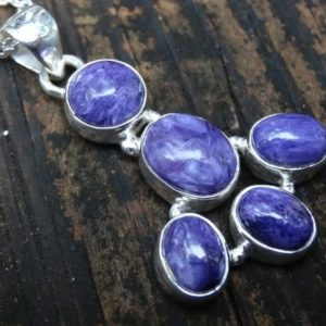 Shop Charoite Pendants! Enchanting Purple Charoite Sterling Silver Necklace, 925 Silver Purple Charoite Multi Stone Statement Pendant, Natural Chariote Necklace | Natural genuine Charoite pendants. Buy crystal jewelry, handmade handcrafted artisan jewelry for women.  Unique handmade gift ideas. #jewelry #beadedpendants #beadedjewelry #gift #shopping #handmadejewelry #fashion #style #product #pendants #affiliate #ad